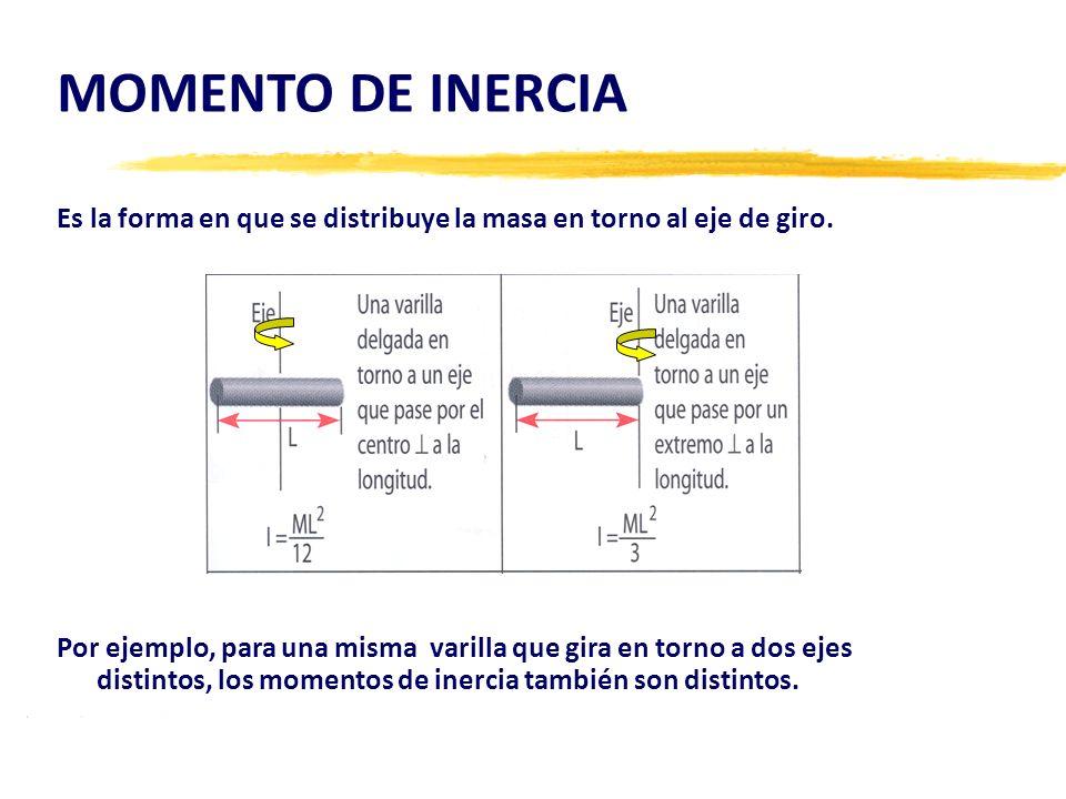 MOMENTO DE INERCIA Es la forma en que se distribuye la masa en torno al eje de giro. Por ejemplo, para una misma varilla que gira en torno a dos ejes