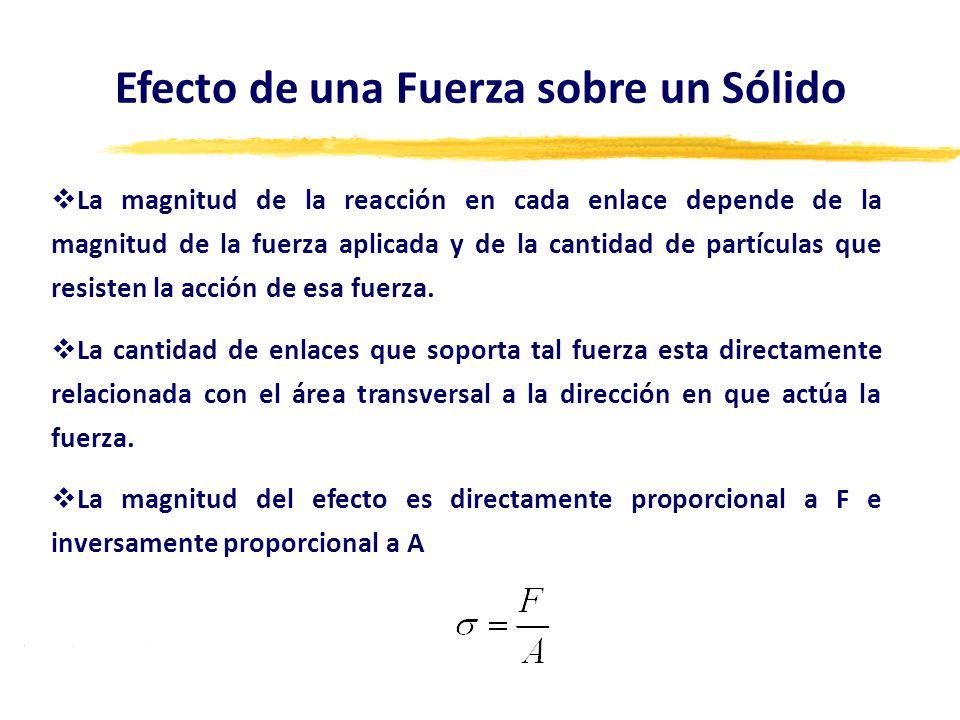 La magnitud de la reacción en cada enlace depende de la magnitud de la fuerza aplicada y de la cantidad de partículas que resisten la acción de esa fu