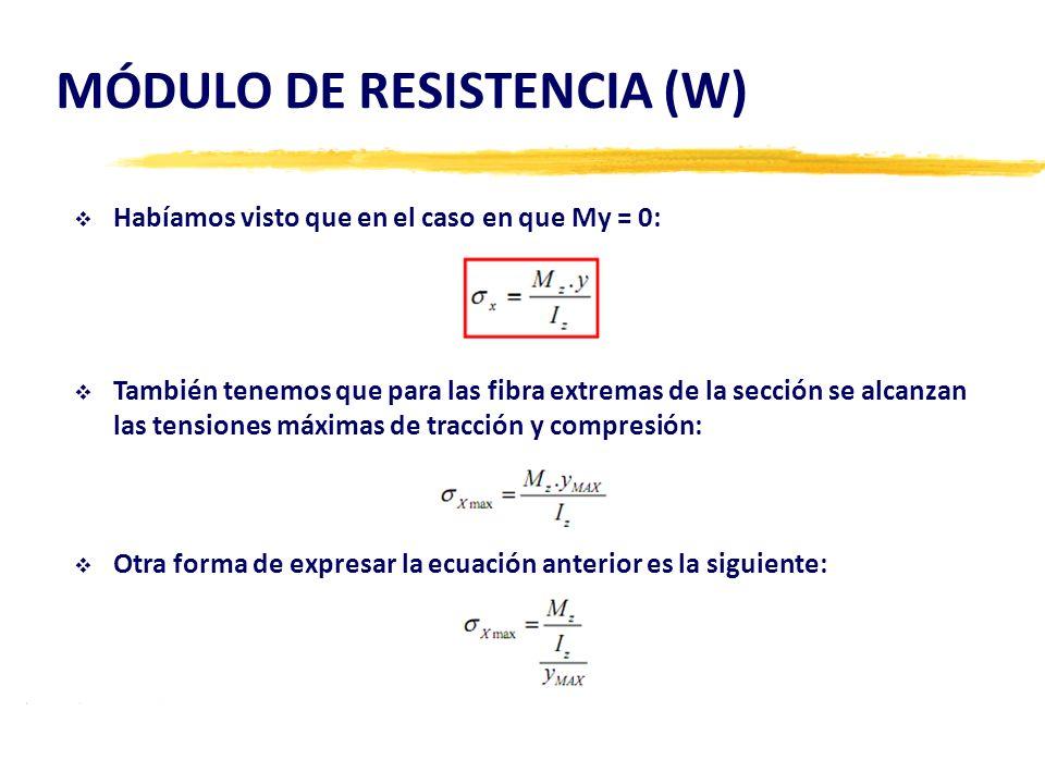 MÓDULO DE RESISTENCIA (W) Habíamos visto que en el caso en que My = 0: También tenemos que para las fibra extremas de la sección se alcanzan las tensi