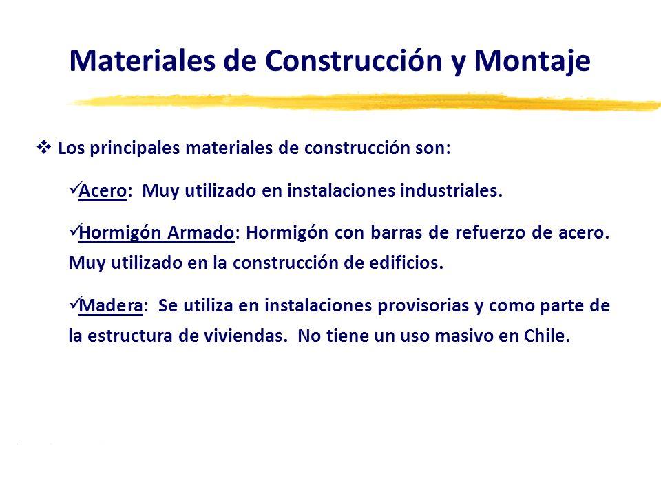 Los principales materiales de construcción son: Acero: Muy utilizado en instalaciones industriales. Hormigón Armado: Hormigón con barras de refuerzo d