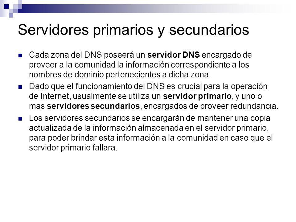 Servidores primarios y secundarios Cada zona del DNS poseerá un servidor DNS encargado de proveer a la comunidad la información correspondiente a los