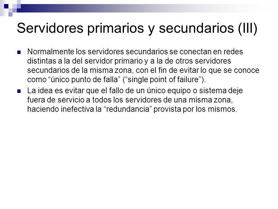 Servidores primarios y secundarios (III) Normalmente los servidores secundarios se conectan en redes distintas a la del servidor primario y a la de ot