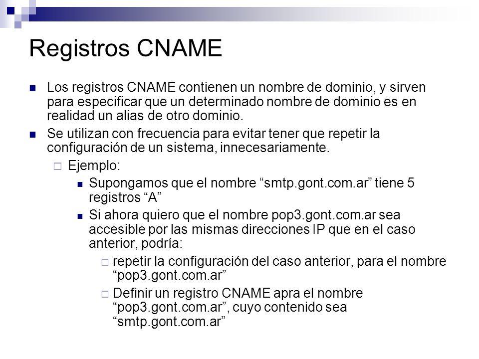 Registros CNAME Los registros CNAME contienen un nombre de dominio, y sirven para especificar que un determinado nombre de dominio es en realidad un a