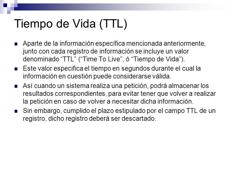 Tiempo de Vida (TTL) Aparte de la información específica mencionada anteriormente, junto con cada registro de información se incluye un valor denomina