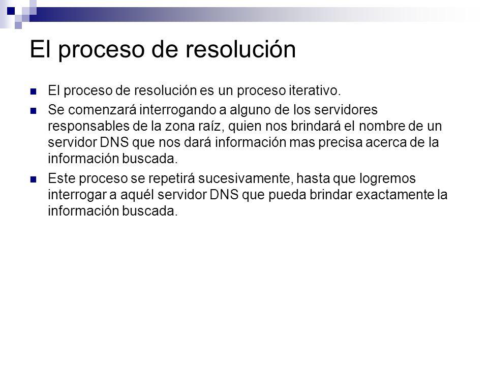 El proceso de resolución El proceso de resolución es un proceso iterativo. Se comenzará interrogando a alguno de los servidores responsables de la zon
