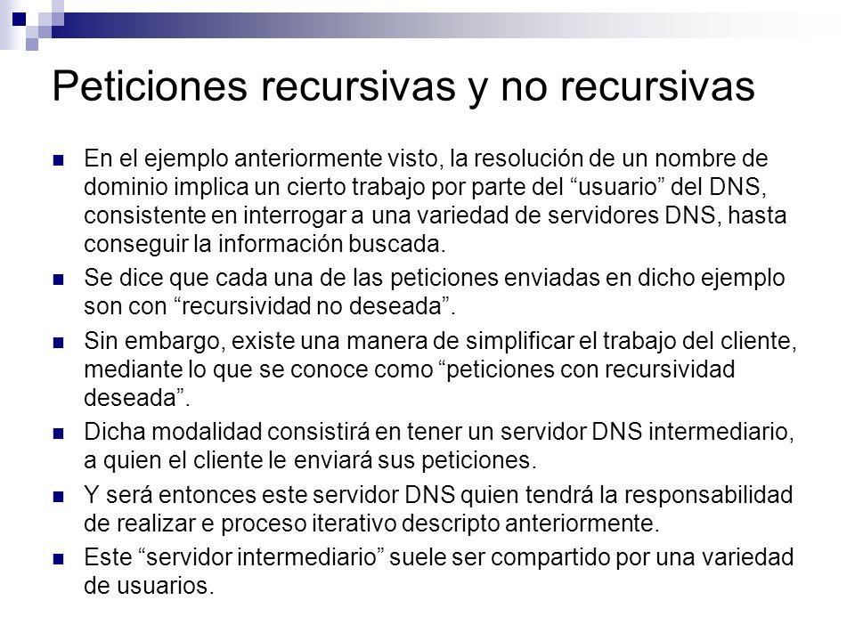 Peticiones recursivas y no recursivas En el ejemplo anteriormente visto, la resolución de un nombre de dominio implica un cierto trabajo por parte del