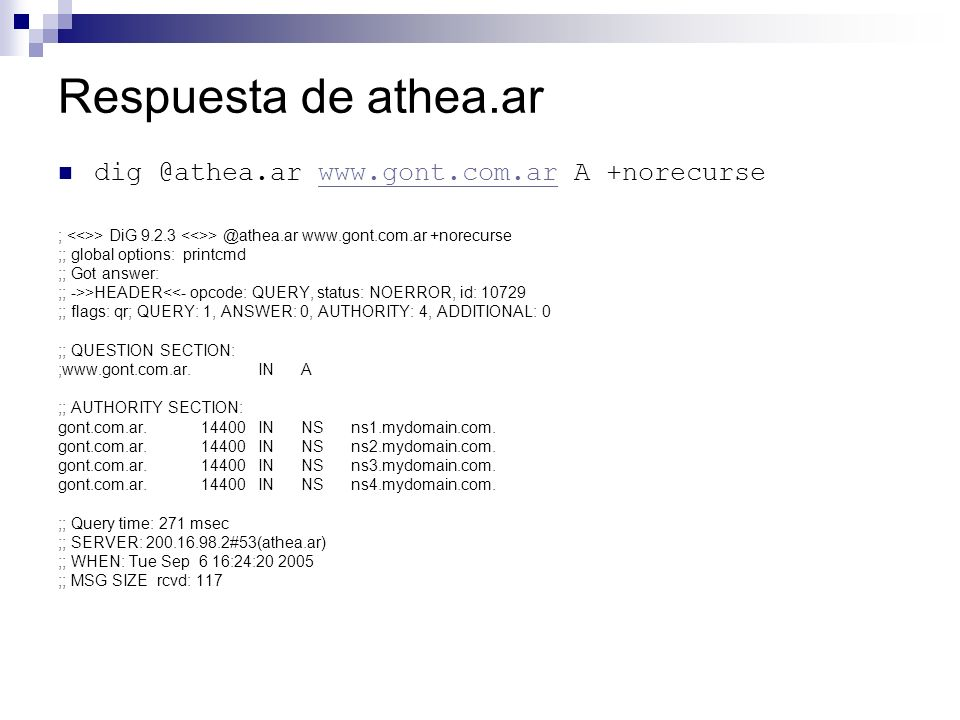 Respuesta de athea.ar dig @athea.ar www.gont.com.ar A +norecursewww.gont.com.ar ; > DiG 9.2.3 > @athea.ar www.gont.com.ar +norecurse ;; global options