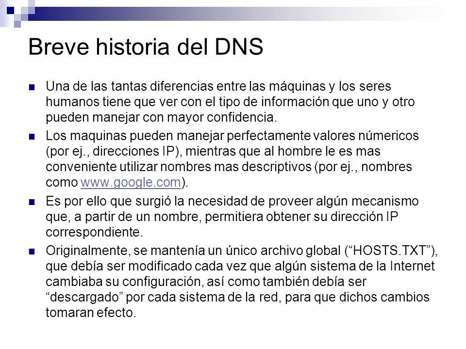 Breve historia del DNS Una de las tantas diferencias entre las máquinas y los seres humanos tiene que ver con el tipo de información que uno y otro pu