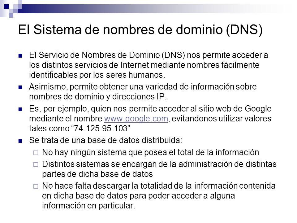 El Sistema de nombres de dominio (DNS) El Servicio de Nombres de Dominio (DNS) nos permite acceder a los distintos servicios de Internet mediante nomb