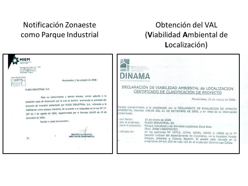 Obtención del VAL (Viabilidad Ambiental de Localización) Notificación Zonaeste como Parque Industrial
