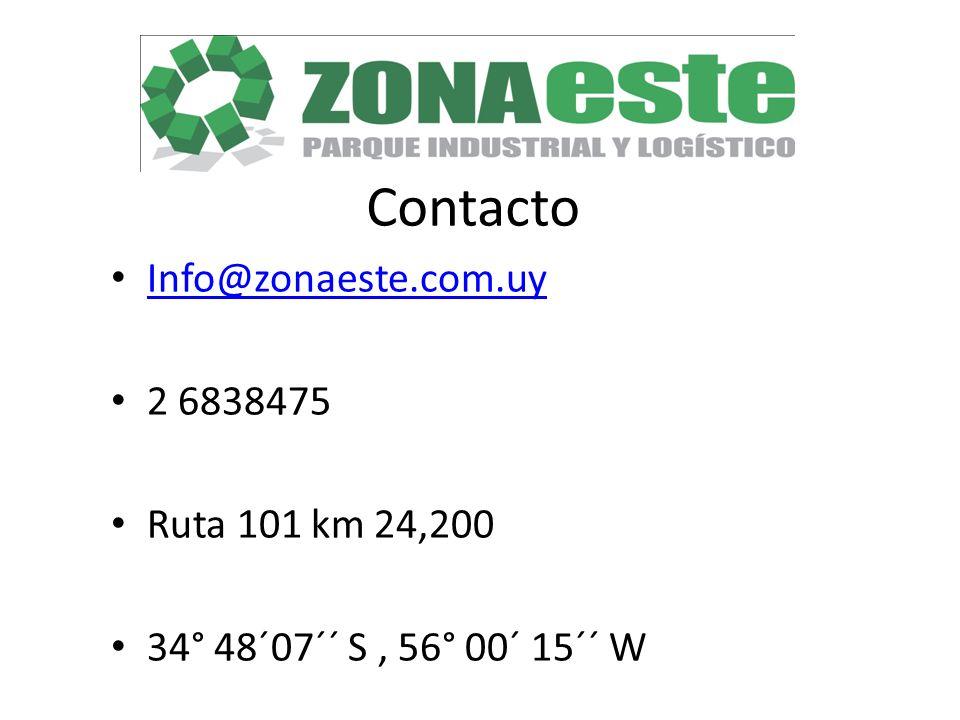 Contacto Info@zonaeste.com.uy 2 6838475 Ruta 101 km 24,200 34° 48´07´´ S, 56° 00´ 15´´ W