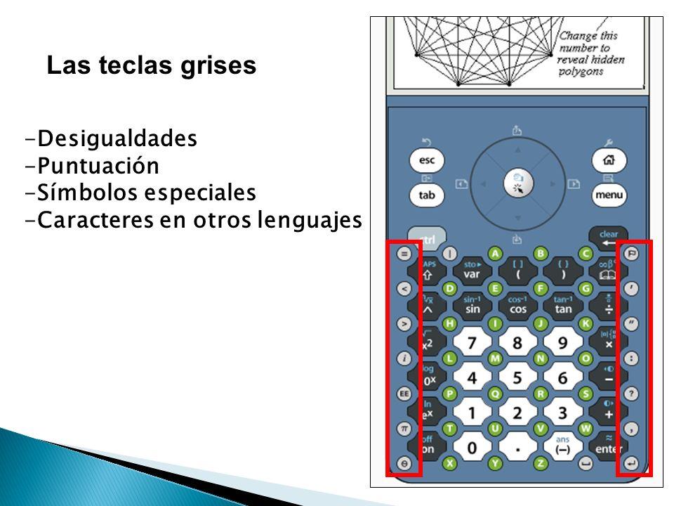 Las teclas grises -Desigualdades -Puntuación -Símbolos especiales -Caracteres en otros lenguajes