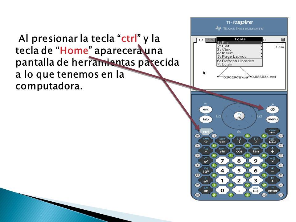 Al presionar la tecla ctrl y la tecla de Home aparecerá una pantalla de herramientas parecida a lo que tenemos en la computadora.