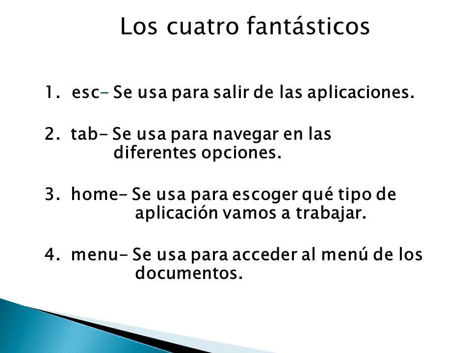 1. esc- Se usa para salir de las aplicaciones. 2.tab- Se usa para navegar en las diferentes opciones. 3.home- Se usa para escoger qué tipo de aplicaci