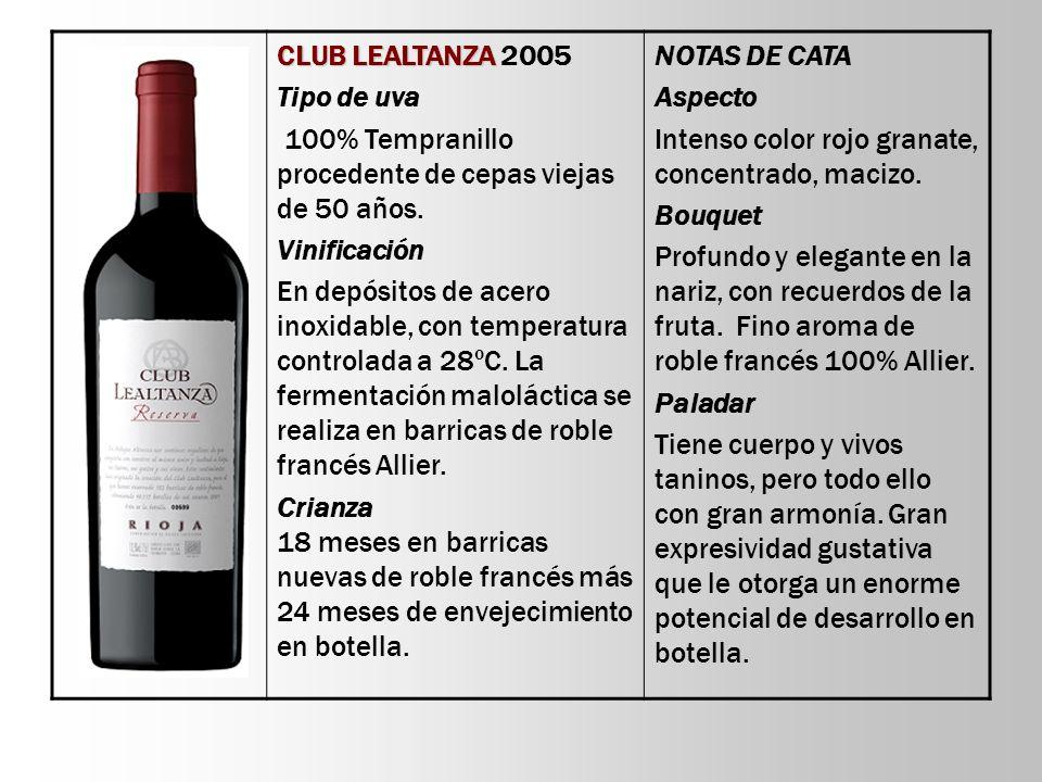 CLUB LEALTANZA CLUB LEALTANZA 2005 Tipo de uva 100% Tempranillo procedente de cepas viejas de 50 años. Vinificación En depósitos de acero inoxidable,