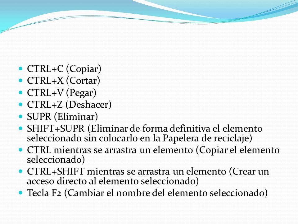 CTRL+C (Copiar) CTRL+X (Cortar) CTRL+V (Pegar) CTRL+Z (Deshacer) SUPR (Eliminar) SHIFT+SUPR (Eliminar de forma definitiva el elemento seleccionado sin
