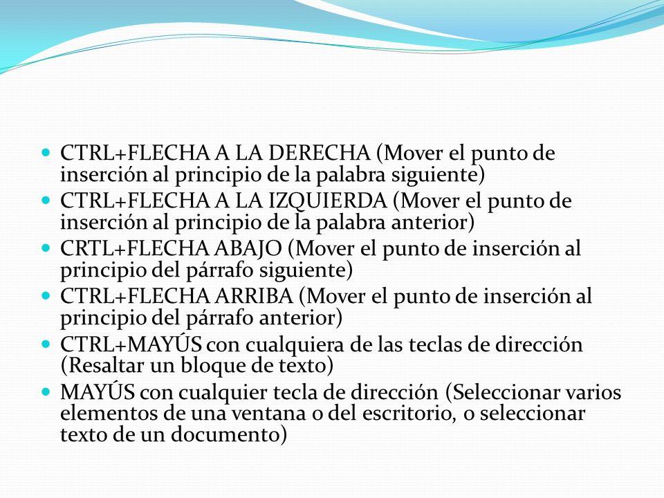 CTRL+FLECHA A LA DERECHA (Mover el punto de inserción al principio de la palabra siguiente) CTRL+FLECHA A LA IZQUIERDA (Mover el punto de inserción al