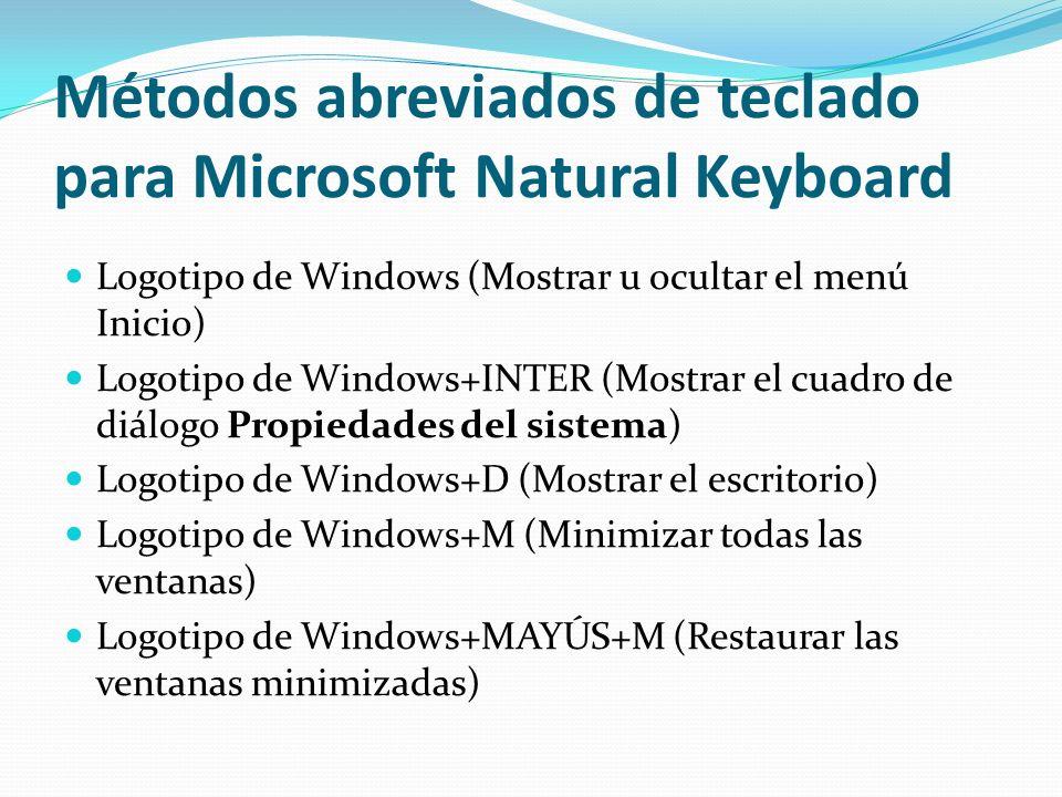 Métodos abreviados de teclado para Microsoft Natural Keyboard Logotipo de Windows (Mostrar u ocultar el menú Inicio) Logotipo de Windows+INTER (Mostra