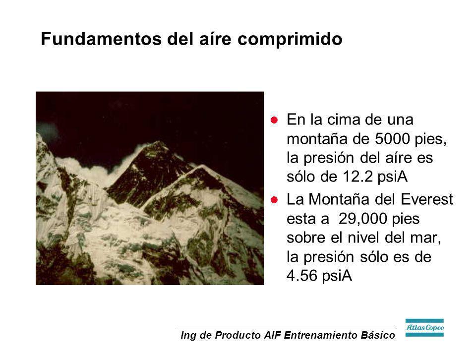 Ing de Producto AIF Entrenamiento Básico l En la cima de una montaña de 5000 pies, la presión del aíre es sólo de 12.2 psiA l La Montaña del Everest e
