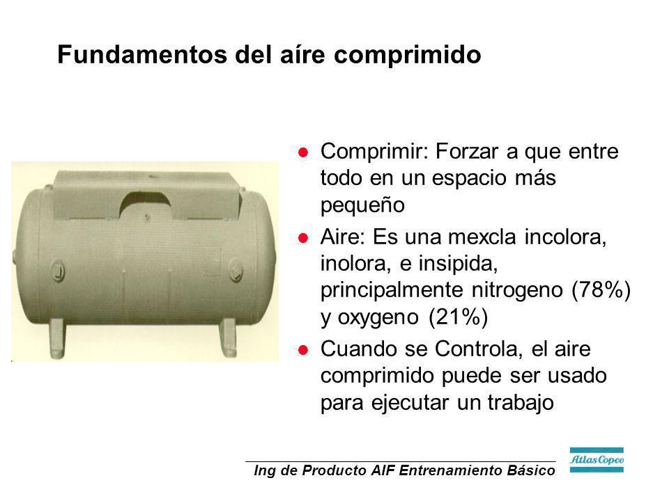 Ing de Producto AIF Entrenamiento Básico l Comprimir: Forzar a que entre todo en un espacio más pequeño l Aire: Es una mexcla incolora, inolora, e ins