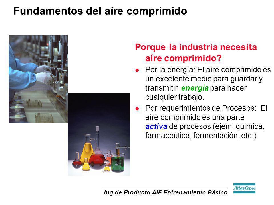 Ing de Producto AIF Entrenamiento Básico Porque la industria necesita aíre comprimido? l Por la energía: El aíre comprimido es un excelente medio para
