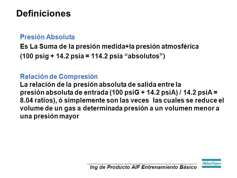 Ing de Producto AIF Entrenamiento Básico Definiciones Presión Absoluta Es La Suma de la presión medida+la presión atmosférica (100 psig + 14.2 psia =
