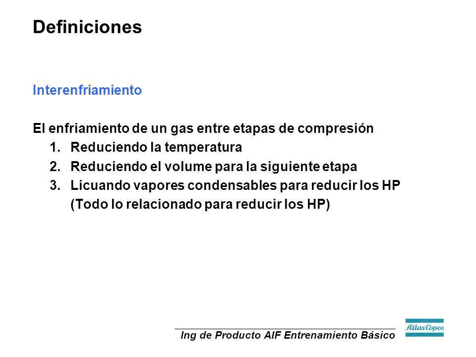 Ing de Producto AIF Entrenamiento Básico Interenfriamiento El enfriamiento de un gas entre etapas de compresión 1.Reduciendo la temperatura 2.Reducien