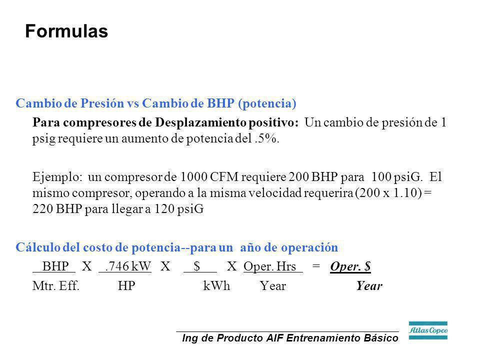 Ing de Producto AIF Entrenamiento Básico Formulas Cambio de Presión vs Cambio de BHP (potencia) Para compresores de Desplazamiento positivo: Un cambio