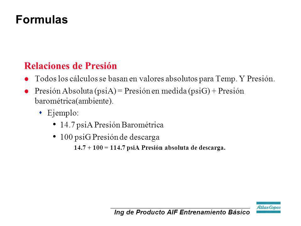 Ing de Producto AIF Entrenamiento Básico Relaciones de Presión l Todos los cálculos se basan en valores absolutos para Temp. Y Presión. l Presión Abso