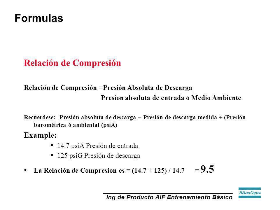 Ing de Producto AIF Entrenamiento Básico Relación de Compresión Relación de Compresión =Presión Absoluta de Descarga Presión absoluta de entrada ó Med