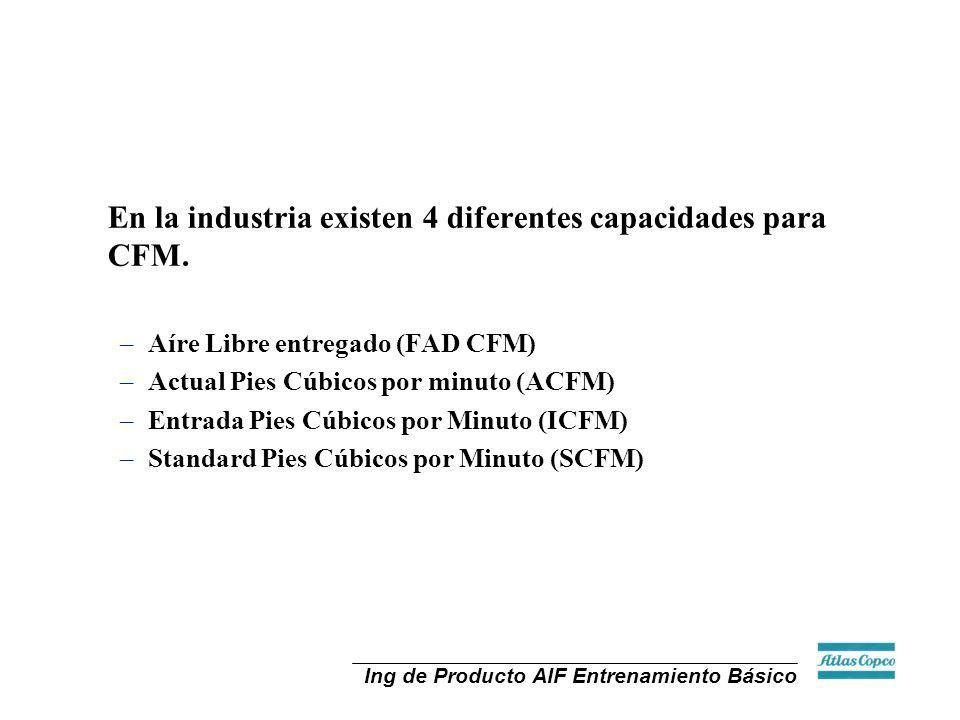 Ing de Producto AIF Entrenamiento Básico En la industria existen 4 diferentes capacidades para CFM. –Aíre Libre entregado (FAD CFM) –Actual Pies Cúbic