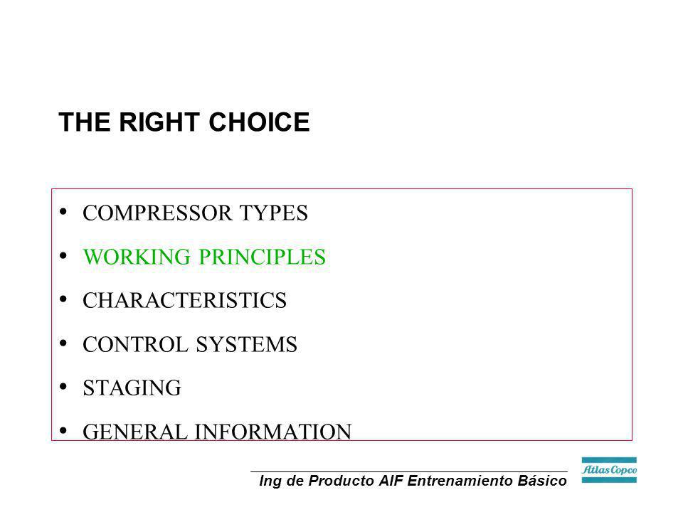 THE RIGHT CHOICE COMPRESSOR TYPES WORKING PRINCIPLES CHARACTERISTICS CONTROL SYSTEMS STAGING GENERAL INFORMATION