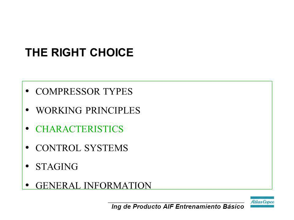 Ing de Producto AIF Entrenamiento Básico THE RIGHT CHOICE COMPRESSOR TYPES WORKING PRINCIPLES CHARACTERISTICS CONTROL SYSTEMS STAGING GENERAL INFORMAT