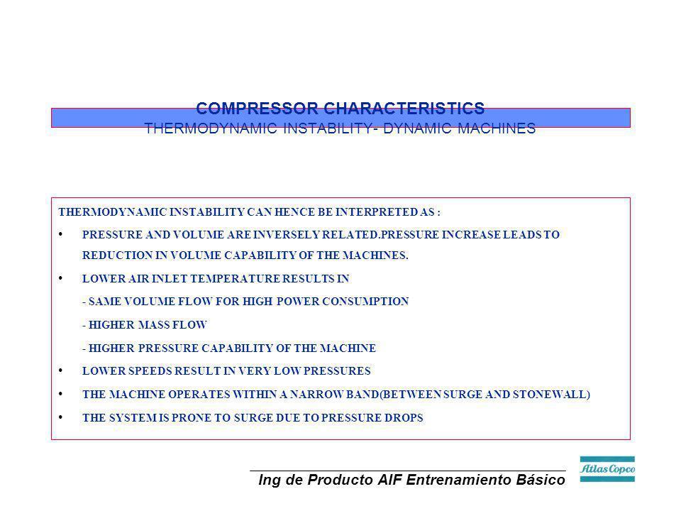 Ing de Producto AIF Entrenamiento Básico COMPRESSOR CHARACTERISTICS THERMODYNAMIC INSTABILITY- DYNAMIC MACHINES THERMODYNAMIC INSTABILITY CAN HENCE BE