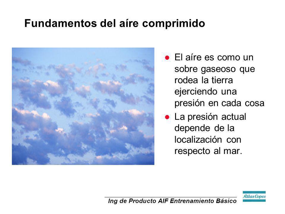 Ing de Producto AIF Entrenamiento Básico l Al nivel del mar la presión atmosférica es de 14.7 psiA l psiA: Libras por pulgada cuadrada (Absolutas) Fundamentos del aíre comprimido