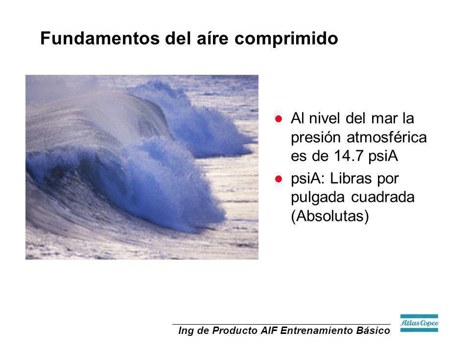 Ing de Producto AIF Entrenamiento Básico l Al nivel del mar la presión atmosférica es de 14.7 psiA l psiA: Libras por pulgada cuadrada (Absolutas) Fun