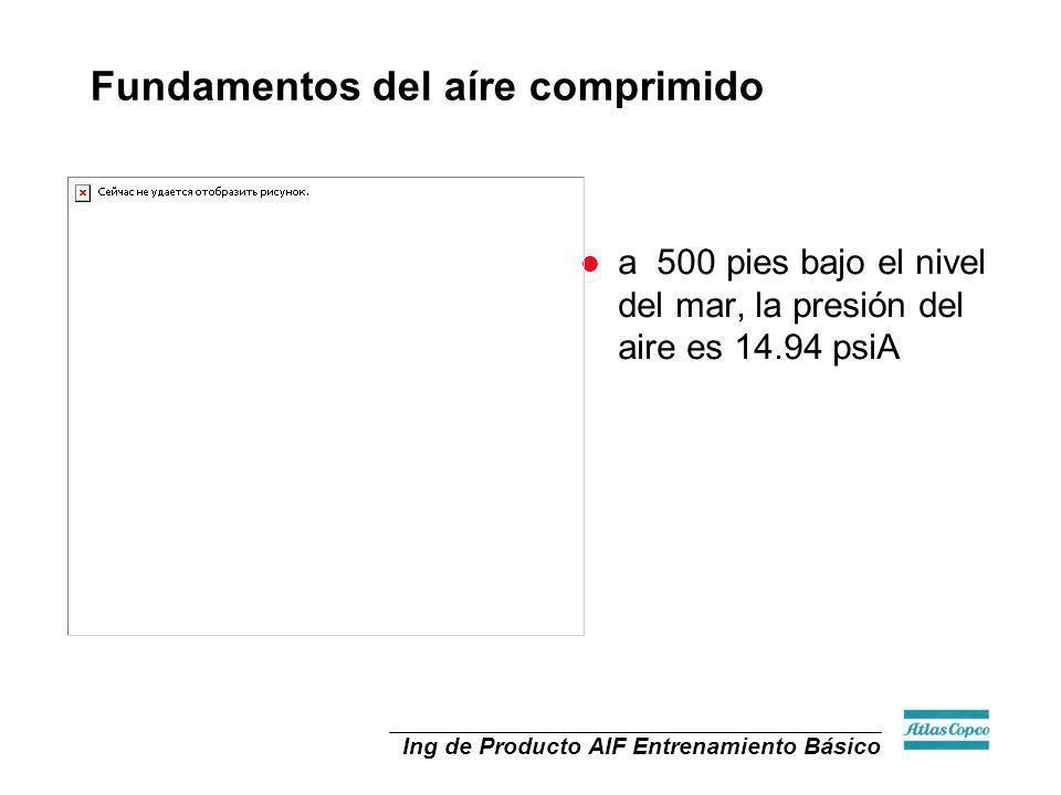 Ing de Producto AIF Entrenamiento Básico Formulas Cambio de Presión vs Cambio de BHP (potencia) Para compresores de Desplazamiento positivo: Un cambio de presión de 1 psig requiere un aumento de potencia del.5%.