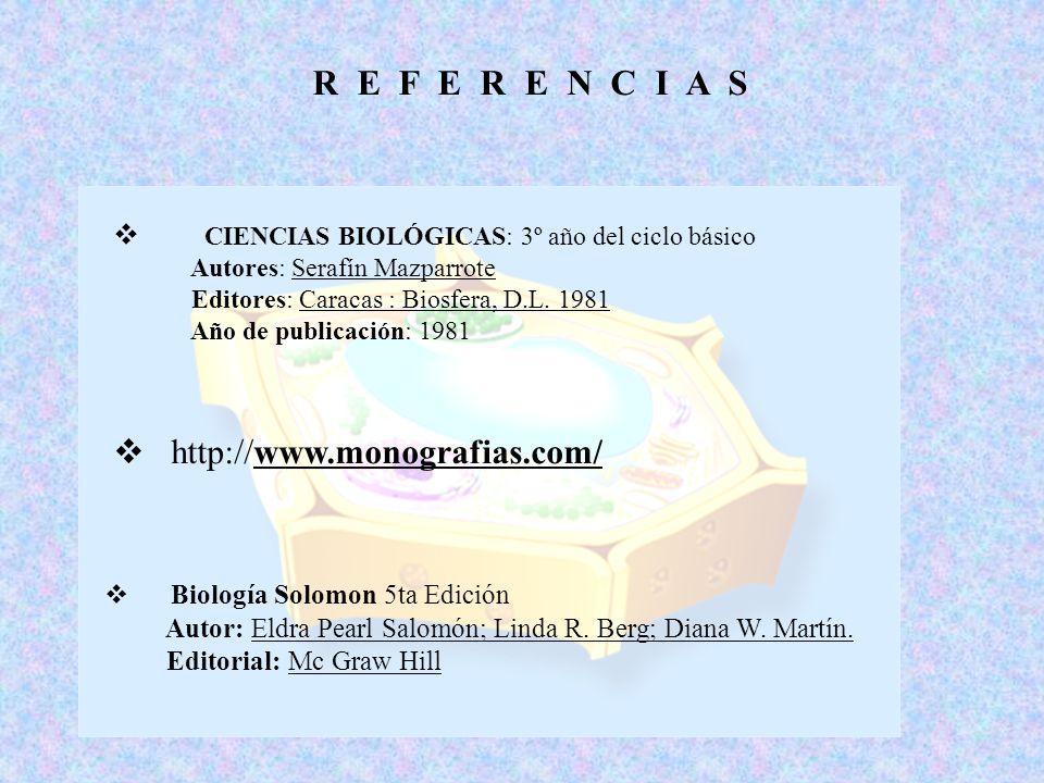 R E F E R E N C I A S C IENCIAS BIOLÓGICAS: 3º año del ciclo básico Autores: Serafín Mazparrote Editores: Caracas : Biosfera, D.L. 1981 Año de publica