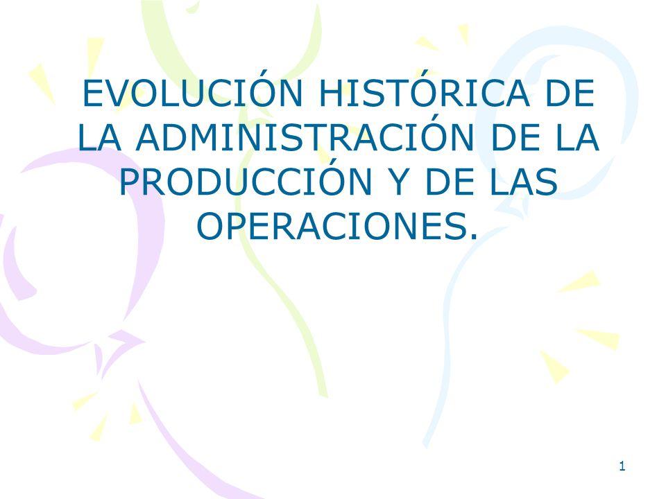 2 1.1.- EVOLUCIÓN HISTÓRICA DE LA ADMINISTRACIÓN DE LA PRODUCCIÓN Y DE LAS OPERACIONES.