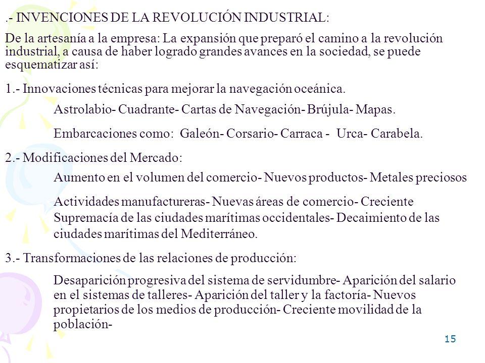 15.- INVENCIONES DE LA REVOLUCIÓN INDUSTRIAL: De la artesanía a la empresa: La expansión que preparó el camino a la revolución industrial, a causa de