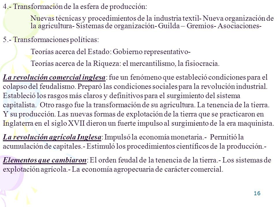 16 4.- Transformación de la esfera de producción: Nuevas técnicas y procedimientos de la industria textil- Nueva organización de la agricultura- Siste