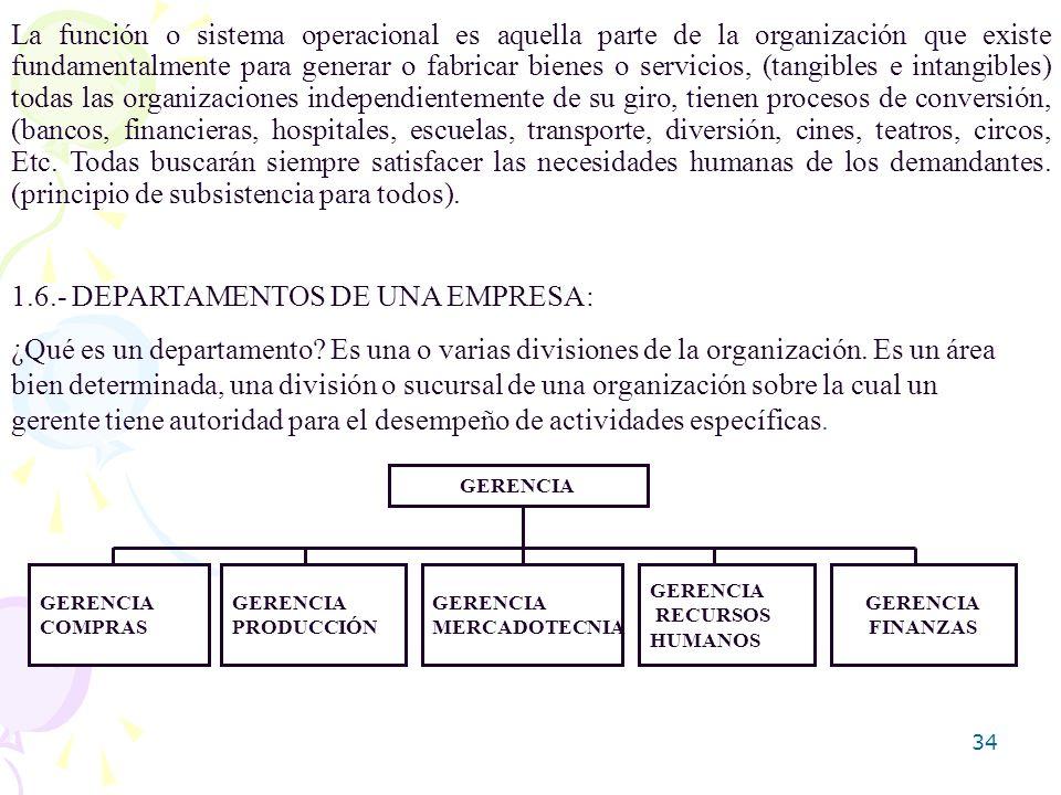 34 La función o sistema operacional es aquella parte de la organización que existe fundamentalmente para generar o fabricar bienes o servicios, (tangi