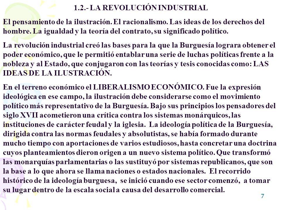 7 1.2.- LA REVOLUCIÓN INDUSTRIAL El pensamiento de la ilustración. El racionalismo. Las ideas de los derechos del hombre. La igualdad y la teoría del