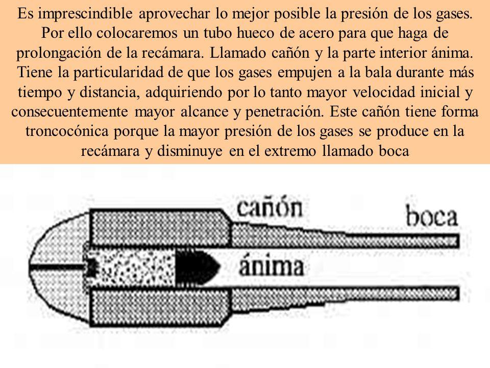 Es imprescindible aprovechar lo mejor posible la presión de los gases. Por ello colocaremos un tubo hueco de acero para que haga de prolongación de la