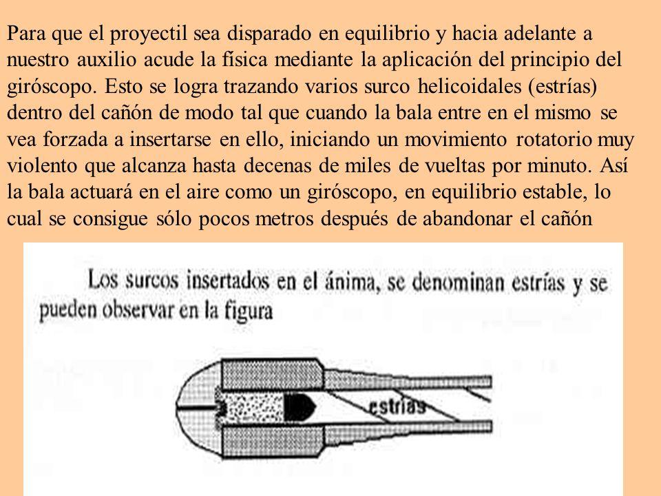 Para que el proyectil sea disparado en equilibrio y hacia adelante a nuestro auxilio acude la física mediante la aplicación del principio del giróscop