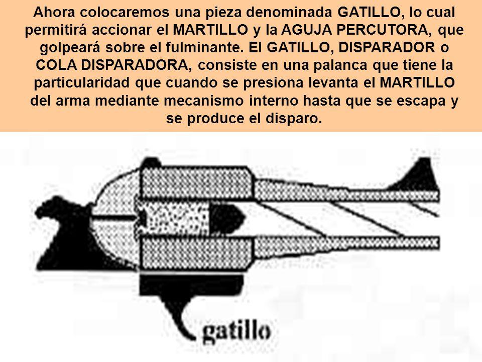 Ahora colocaremos una pieza denominada GATILLO, lo cual permitirá accionar el MARTILLO y la AGUJA PERCUTORA, que golpeará sobre el fulminante. El GATI