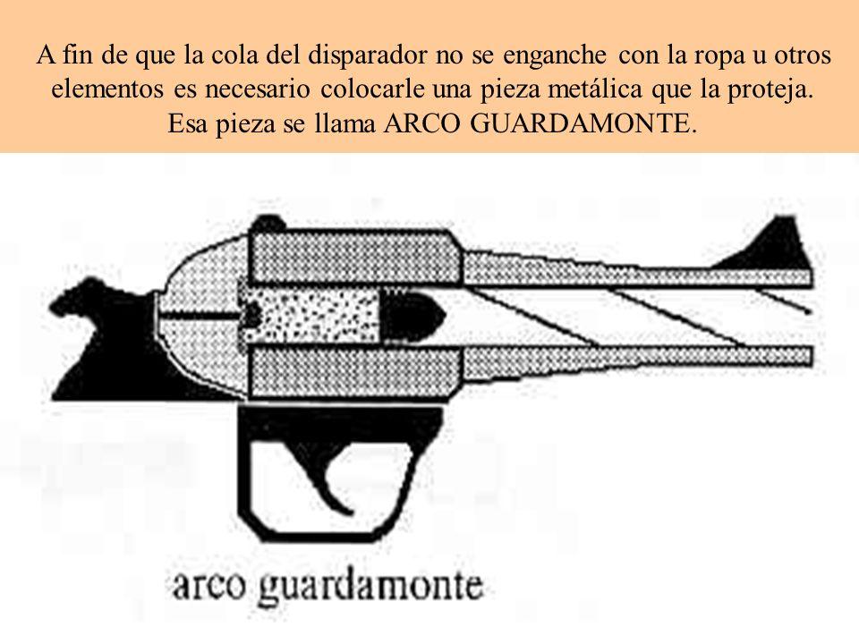 A fin de que la cola del disparador no se enganche con la ropa u otros elementos es necesario colocarle una pieza metálica que la proteja. Esa pieza s