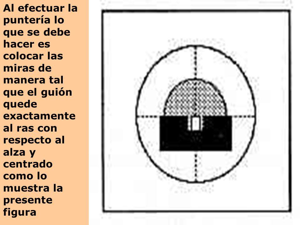 Al efectuar la puntería lo que se debe hacer es colocar las miras de manera tal que el guión quede exactamente al ras con respecto al alza y centrado