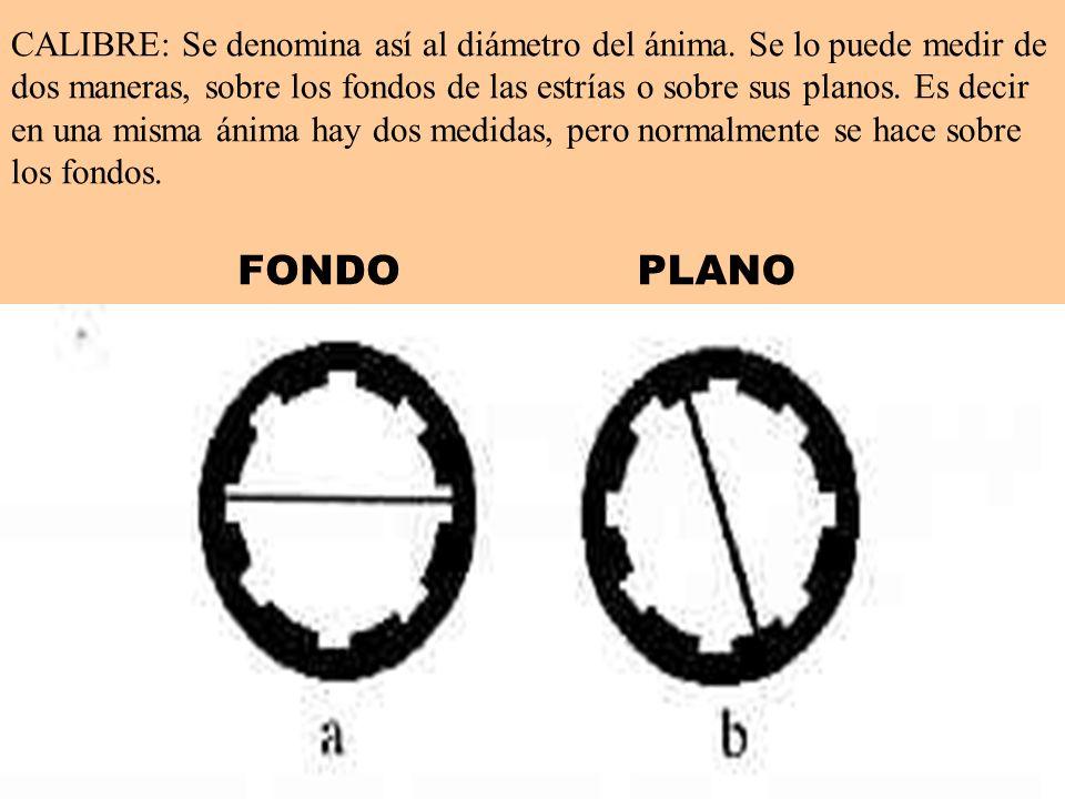 CALIBRE: Se denomina así al diámetro del ánima. Se lo puede medir de dos maneras, sobre los fondos de las estrías o sobre sus planos. Es decir en una