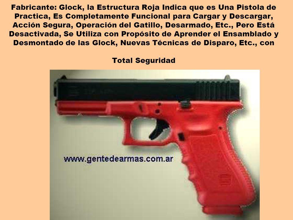 Fabricante: Glock, la Estructura Roja Indica que es Una Pistola de Practica, Es Completamente Funcional para Cargar y Descargar, Acción Segura, Operac